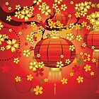 Chinese Lantern with Sakura Branch 8 by AnnArtshock