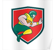 American Football Running Back Charging Crest Cartoon Poster