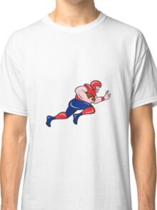 American Football Running Back Charging Cartoon Classic T-Shirt