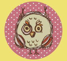 Funny owl pink polka dot Kids Tee