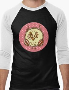 Funny owl pink polka dot Men's Baseball ¾ T-Shirt