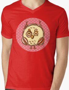 Funny owl pink polka dot Mens V-Neck T-Shirt