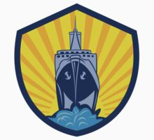 Passenger Ship Cargo Boat Crest Cartoon by patrimonio