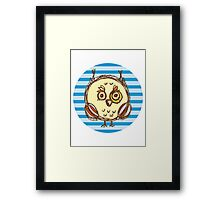 Funny owl blue and brown Framed Print