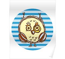 Funny owl blue and brown Poster