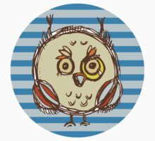 Funny owl blue and brown Kids Tee