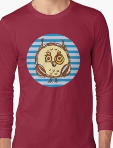Funny owl blue and brown Long Sleeve T-Shirt