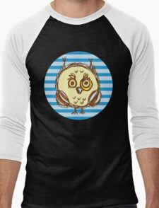 Funny owl blue and brown Men's Baseball ¾ T-Shirt