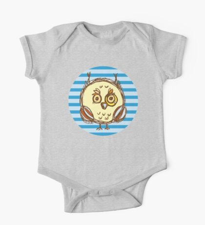 Funny owl blue and brown One Piece - Short Sleeve