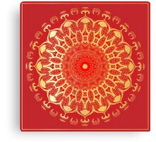 Indian gold mandala on a red background. Canvas Print