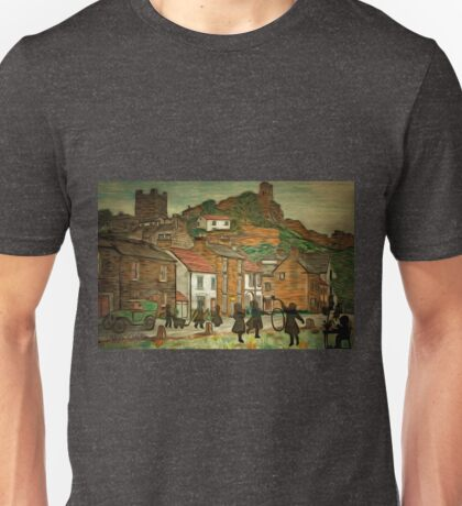 A digital painting of Richmond, Yorkshire with memories of children of long ago Unisex T-Shirt