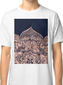 Modern boho rose gold floral mandala watercolor Classic T-Shirt