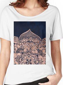 Modern boho rose gold floral mandala watercolor Women's Relaxed Fit T-Shirt