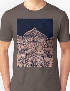 Modern boho rose gold floral mandala watercolor Unisex T-Shirt