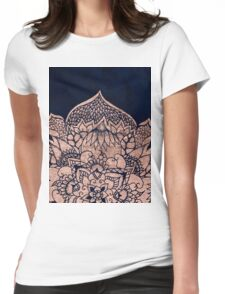 Modern boho rose gold floral mandala watercolor Womens Fitted T-Shirt