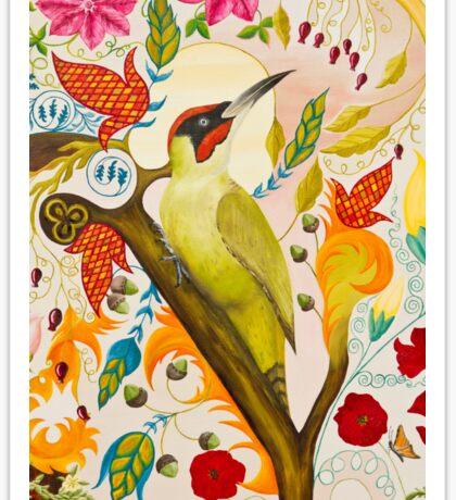 Green Woodpecker Sticker