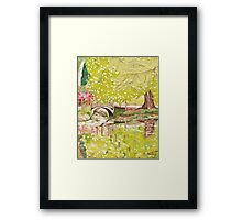 Bridge Over Lake. Exbury Gardens Framed Print