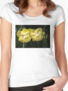 Sunny Pair - Glowing Mellow Yellow Narcissus Blooms Women's Fitted Scoop T-Shirt