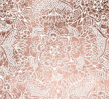 Modern faux rose gold floral mandala hand drawn by GirlyTrend