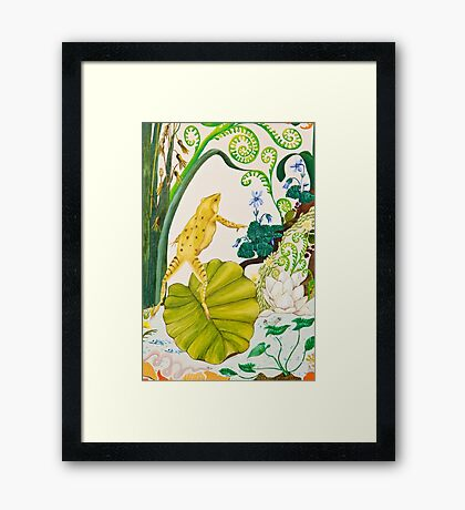 Frog and Lilly Framed Print