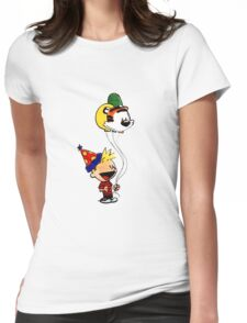 Calvin and Hobbes Party Womens Fitted T-Shirt