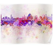 Agra skyline in watercolor background Poster