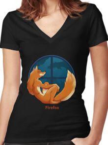 Firefox Parody Women's Fitted V-Neck T-Shirt