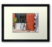 Penny-Farthing in Front of Bike Shop Framed Print