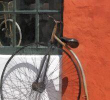 Penny-Farthing in Front of Bike Shop Sticker