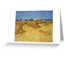 Vincent Van Gogh - Corn Harvest in Provence,  Famous Painting. Impressionism. Van Gogh Greeting Card