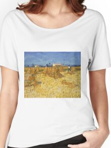 Vincent Van Gogh - Corn Harvest in Provence,  Famous Painting. Impressionism. Van Gogh Women's Relaxed Fit T-Shirt