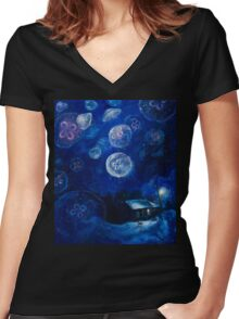 It's Jellyfishing Outside Tonight Women's Fitted V-Neck T-Shirt