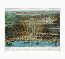 Birds eye view of Philadelphia - 1875 - Currier & Ives One Piece - Long Sleeve
