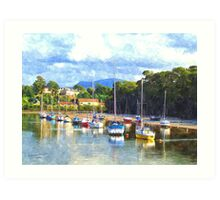 Boats in Harbour, Caernarvon, Wales Art Print