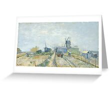 Vincent Van Gogh - Montmartre windmills and allotments, Famous Paintings. Impressionism. Van Gogh Greeting Card
