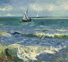 Vincent Van Gogh - Seascape near Les Saintes-Maries-de-la-Mer, June 1888 - 1888 by famousartworks