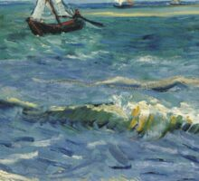 Vincent Van Gogh - Post- Impressionism Oil Painting , Seascape near Les Saintes-Maries-de-la-Mer, June 1888 - 1888 Sticker