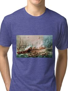 Bombardment and capture of the Forts at Hatteras Inlet, NC - 1861 - Currier & Ives Tri-blend T-Shirt