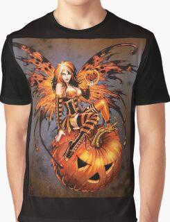 Fairy of Halloween Pumpkin Graphic T-Shirt