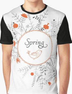 Flowers & Bird Graphic T-Shirt