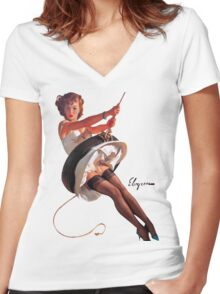 pin up girl Women's Fitted V-Neck T-Shirt