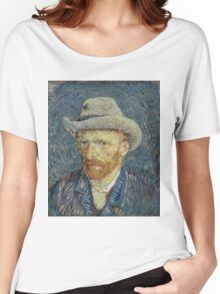 Vincent Van Gogh -  Post- Impressionism Oil Painting , Self-portrait with grey felt hat, September 1887 - October 1887 Women's Relaxed Fit T-Shirt