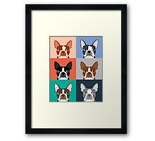 Boston Terriers tile pattern repeat cute dogs puppy boston terrier pet friendly gifts for dog person  Framed Print