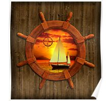 Sailboat Sunset Poster