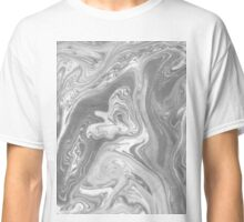 Eiji - black and white monochromatic grey minimal painting marble marbled paper art print topography map  Classic T-Shirt