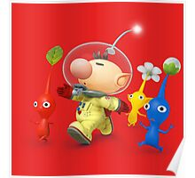 captain olimar and pikmin super smash bros Poster