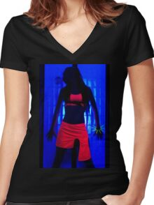 The effects of UV (black light) on reflective clothing - Orange Women's Fitted V-Neck T-Shirt