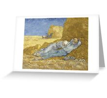 Vincent Van Gogh  Post - Impressionism Oil Painting .The siesta, after Millet, 1890 Greeting Card