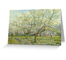 Vincent Van Gogh Post- Impressionism Oil Painting The white orchard, April 1888 - 1888 Greeting Card