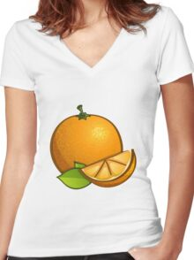 Orange with leaves Women's Fitted V-Neck T-Shirt
